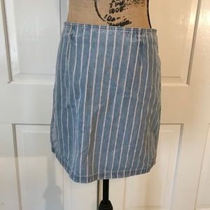 NEW Mink Pink Denim Blue Red Pinstripe Skirt NWT S